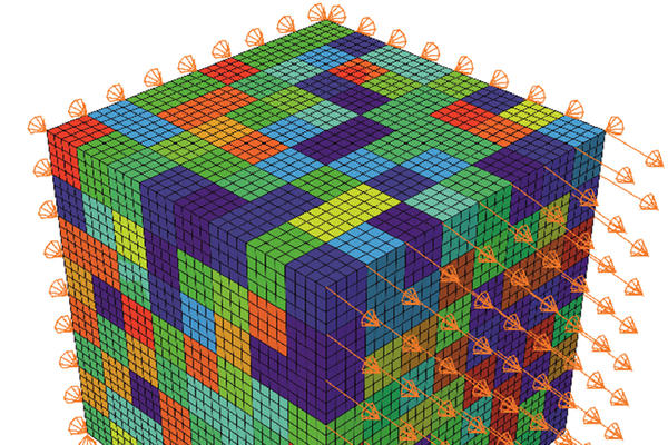 image of finite element mesh of the rve used with the cpfe model
