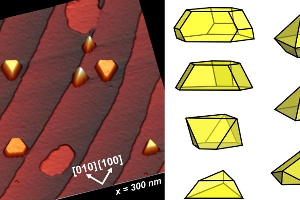 STM showing shape of Au nanocrystals on SrTi03 substrate