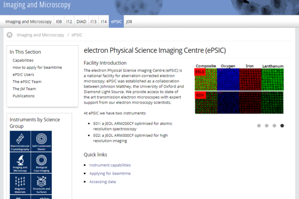 electron Physical Science Imaging Centre  website