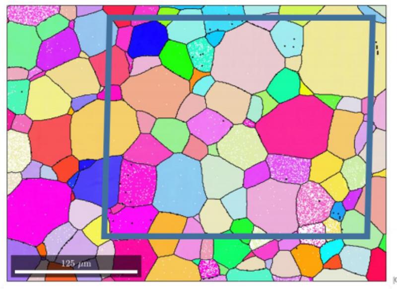 IPFZ EBSD map of cp titanium specimen with pole key