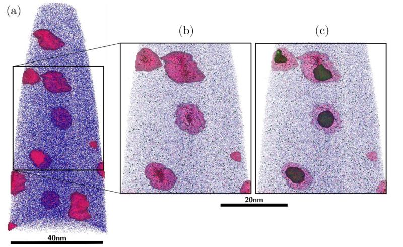 Atom probe analysis of irratiated precipitates