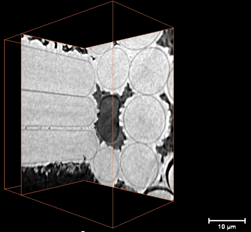 X-ray computed nano-tomography image of a SiC-SiC composite