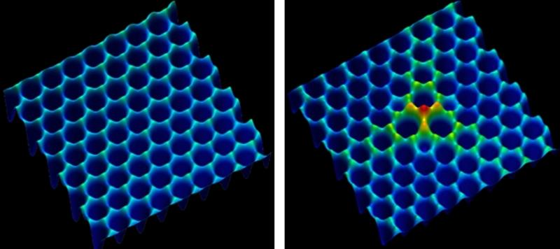 Scanning tunneling microscopy of divacancy defect in Ti203 monolayer on Au